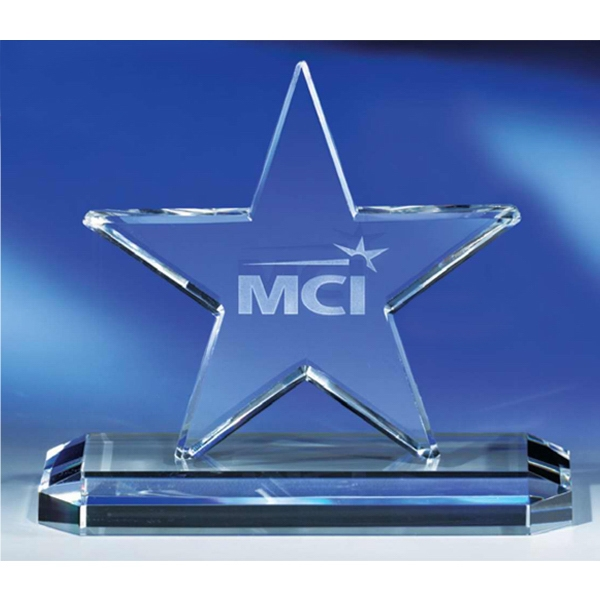 "Star - 5-1/2"" Star-shaped Crystal Award By Crystal World Photo"