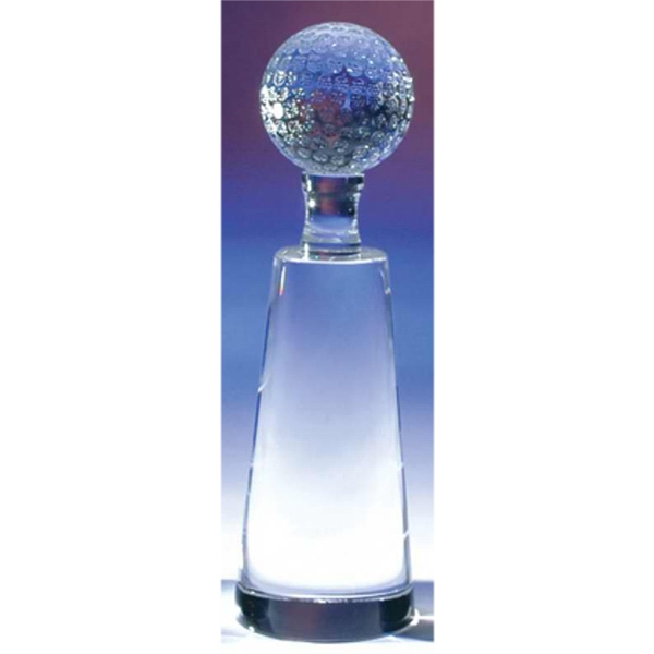 "2 3/8"" X 2 3/8"" X 7 1/2"" - Crystal Golf Tower Award With Golf Ball On Top Photo"