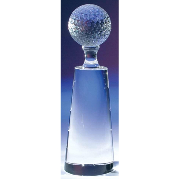 "2 7/8"" X 2 7/8"" X 9 1/2"" - Crystal Golf Tower Award With Golf Ball On Top Photo"
