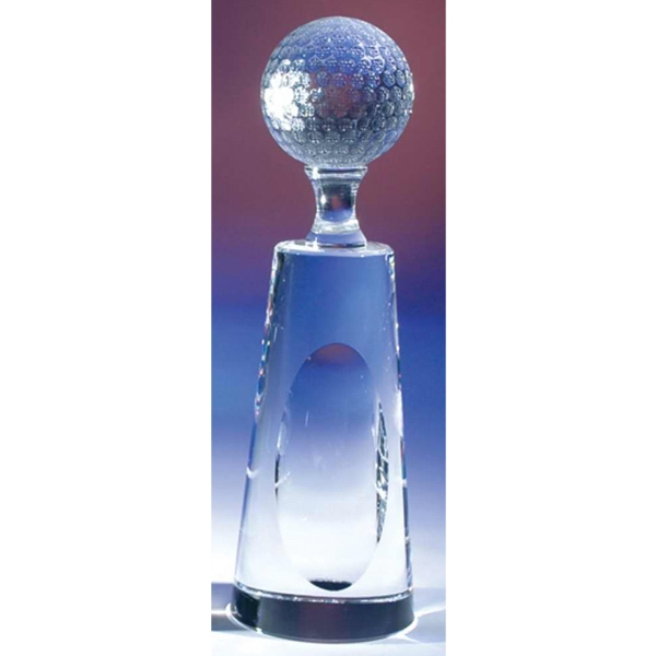 Crystal Golf Tower Award With Dimple And Golf Ball On Top Photo
