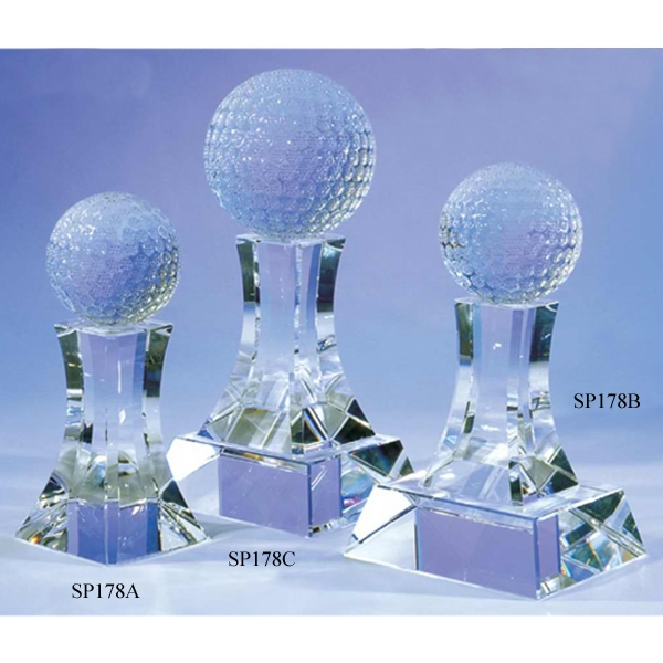 "Golf Classic - 3 7/8"" X 3 1/2"" X 7/8"" - Golf Classic Crystal Golfing Award By Crystal World. Sp178 Photo"