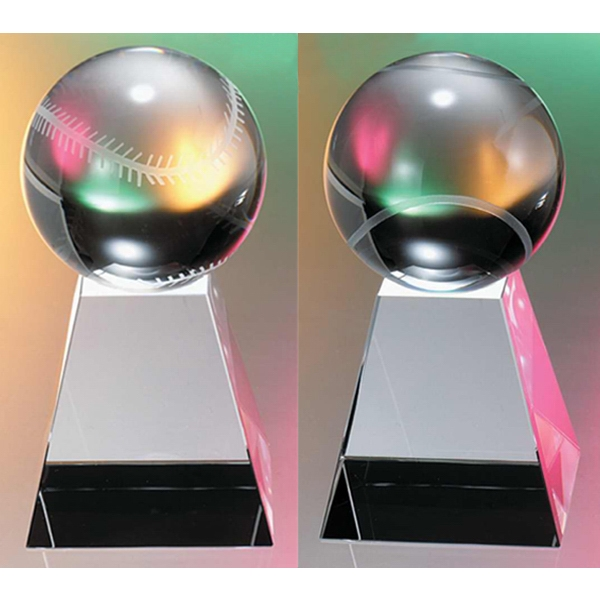 Baseball On Medium Base Crystal Award By Crystal World Photo