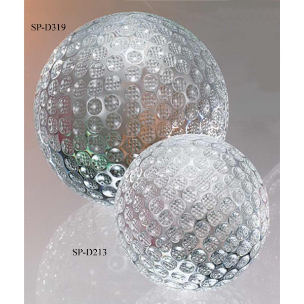 "3 3/8"" - The ""golf Ball"" Crystal Golf Shaped Sports Award By Crystal World Photo"