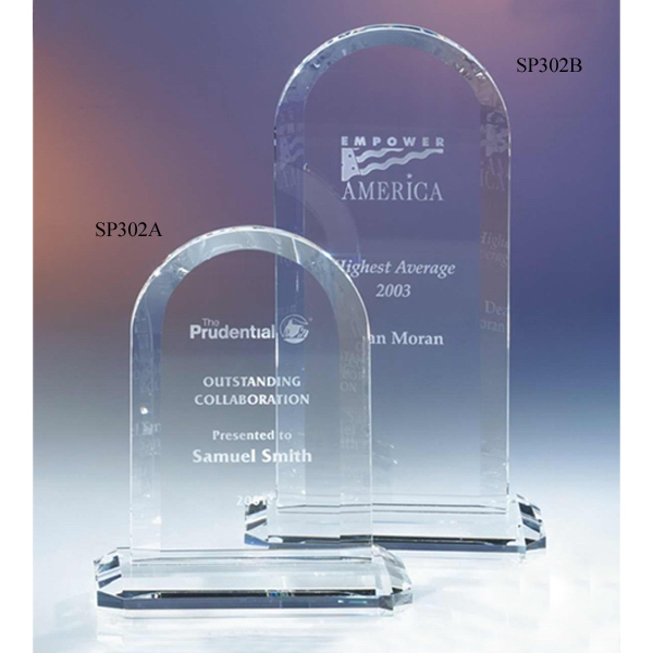 "Silhouette Series - 5 1/4"" X 2 3/8"" X 6"" - Silhouette Optical Crystal Arch Shape Award With Base Photo"