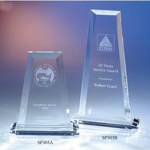 "Vision - 5 1/4"" X 2 3/8"" X 9"" - The ""silhouette"" Crystal Award On Base By Crystal World. Sp303 Photo"