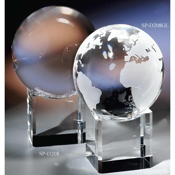 "5"" - Crystal Globe & Base By Crystal World Photo"