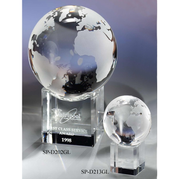 "4"" - Crystal Globe & Base By Crystal World Photo"