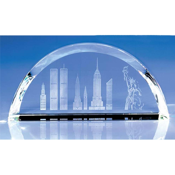 Horizon - Horizon Skyline Crystal Paperweight By Crystal World Photo