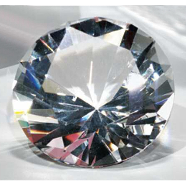 "2"" - Faceted And Polished Optical Crystal Diamond Shape Paperweight Photo"