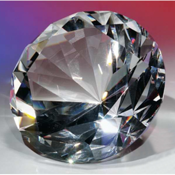 "3"" - Faceted And Polished Optical Crystal Diamond Shape Paperweight Photo"