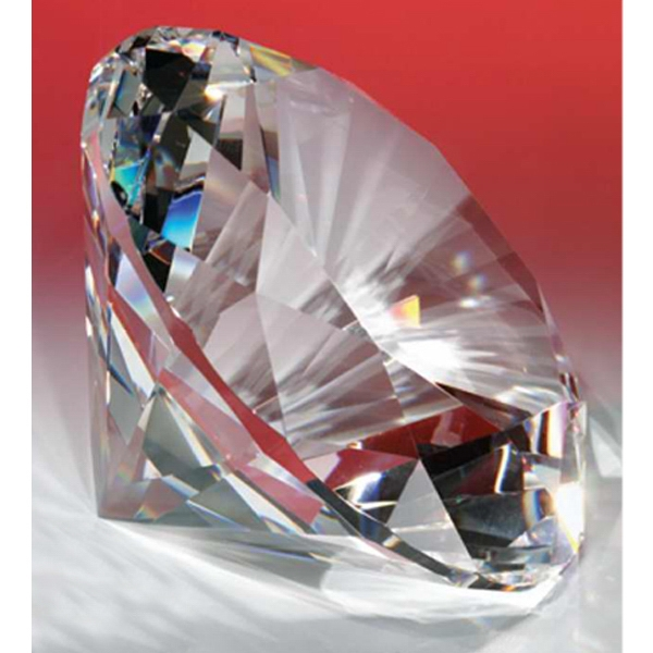 "4"" - Faceted And Polished Optical Crystal Diamond Shape Paperweight Photo"