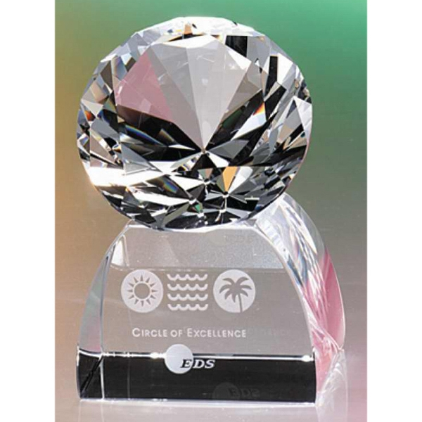 "2-1/2"" Crystal Diamond On Base Paperweight Award By Crystal World Photo"