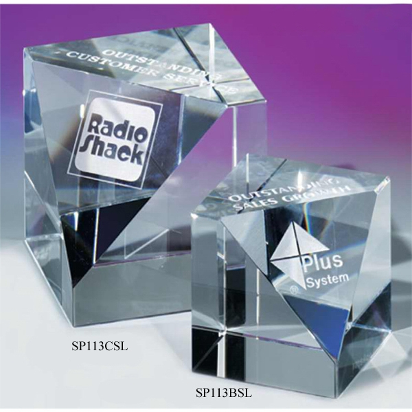 "3 1/8"" X 3 1/8"" X 3 1/8"" - Slanted Cube Crystal Paperweight By Crystal World Photo"