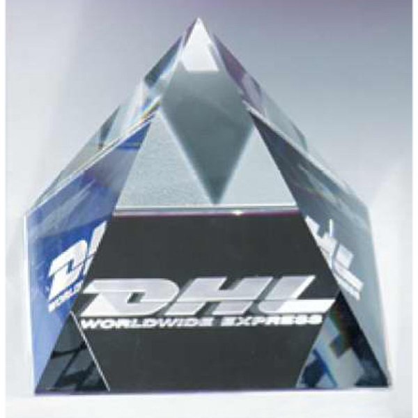 "3 1/8"" X 3 1/8"" X 2 3/4"" - The ""pyramid"", Pyramid Shaped Crystal Paperweight By Crystal World Photo"