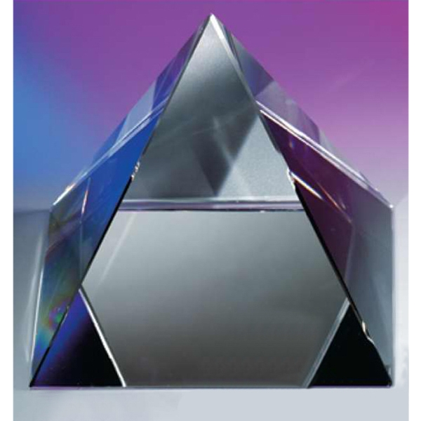 "5"" X 5"" X 4 3/8"" - The ""pyramid"", Pyramid Shaped Crystal Paperweight By Crystal World Photo"