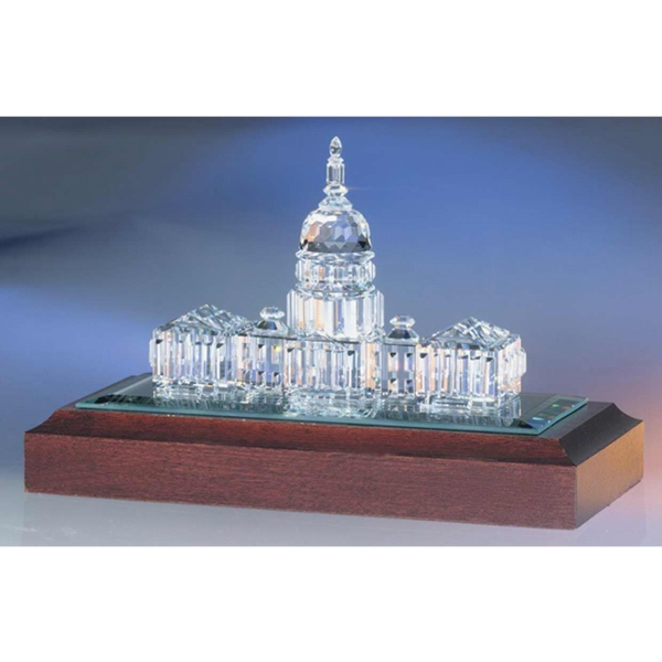 Crystal U.s. Capitol Shape Figurine On Base Photo
