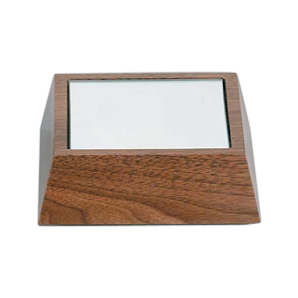 "4 5/8"" X 4 5/8"" X 1 1/2"" - Solid Walnut Wooden Bases By Crystal World Photo"