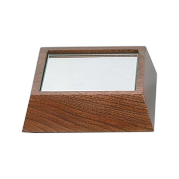 "5 1/2"" X 5 1/2"" X 1 1/2"" - Solid Walnut Wooden Bases By Crystal World Photo"