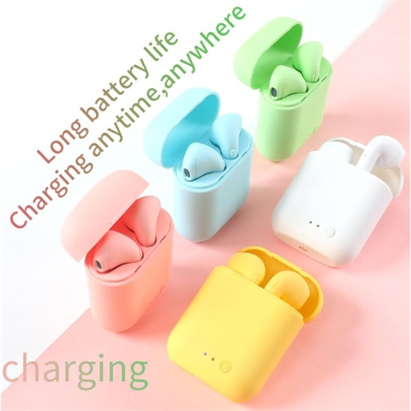Matte Macaron Wireless Earbuds With Mic Charging Box