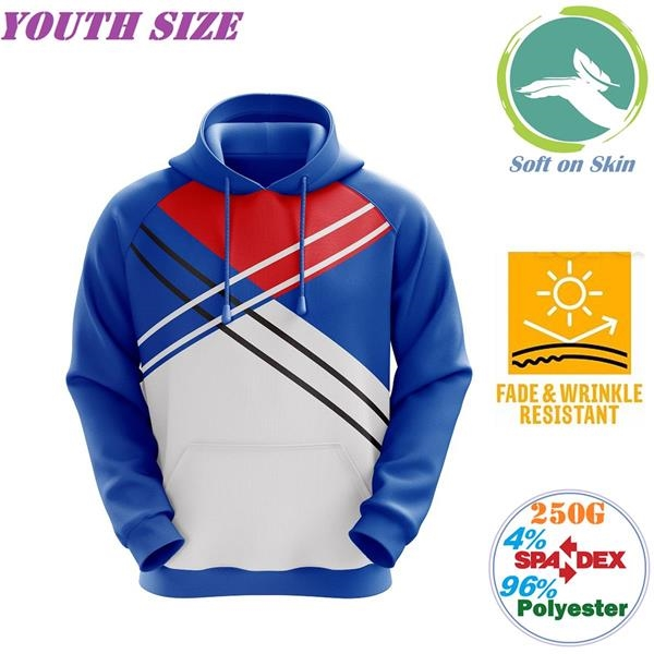 250G Fleece Youth Pullover Hoodies w/ 2 Pockets, Creaseproof
