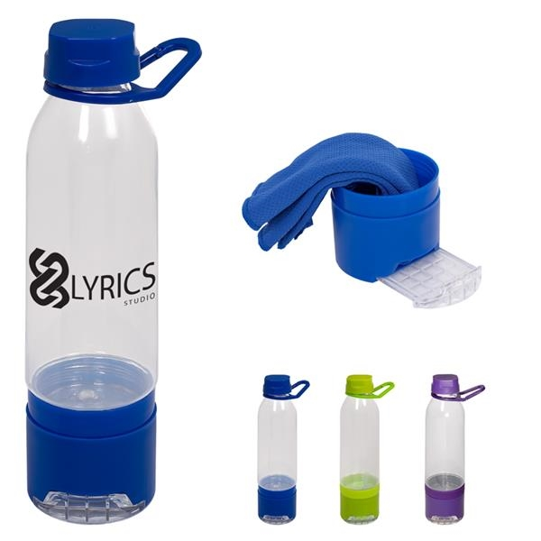 Multi-functional Water Bottle/Phone Stand with Cooling Towel