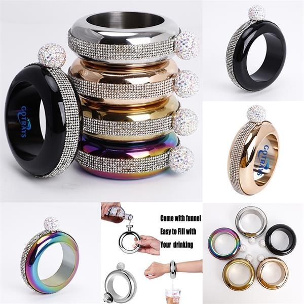 3.5OZ Bracelet Bangle Flask Handmade Crystal Lid Creative