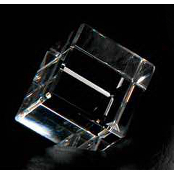 "1 1/2"" - Cube Shape Crystal Paperweight Photo"