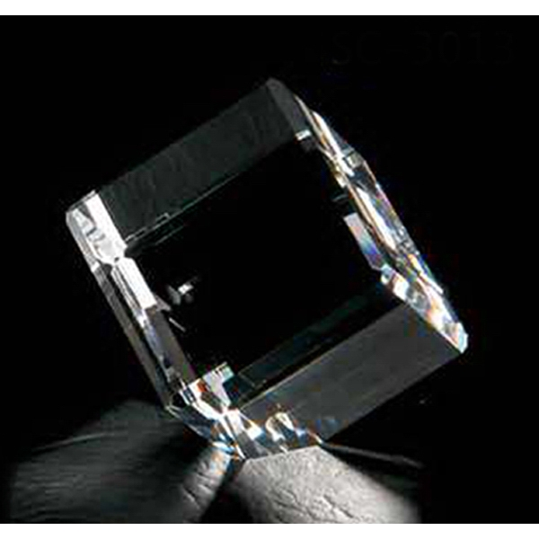 "2"" - Cube Shape Crystal Paperweight Photo"