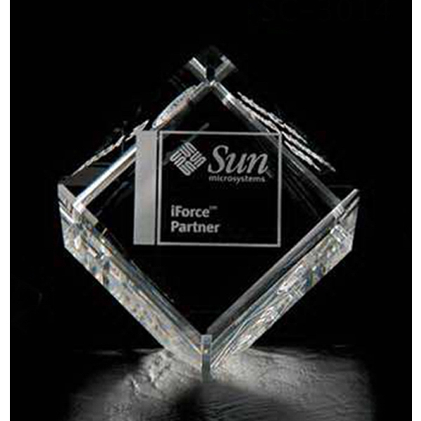 "2 3/8"" - Cube Shape Crystal Paperweight Photo"