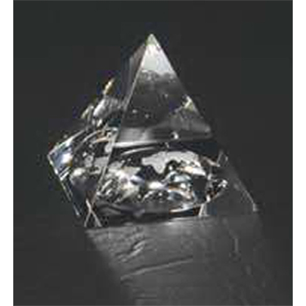 "2"" X 2"" X 1 3/4"" - Crystal Pyramid Shape Paperweight With Recessed Globe On Bottom Photo"
