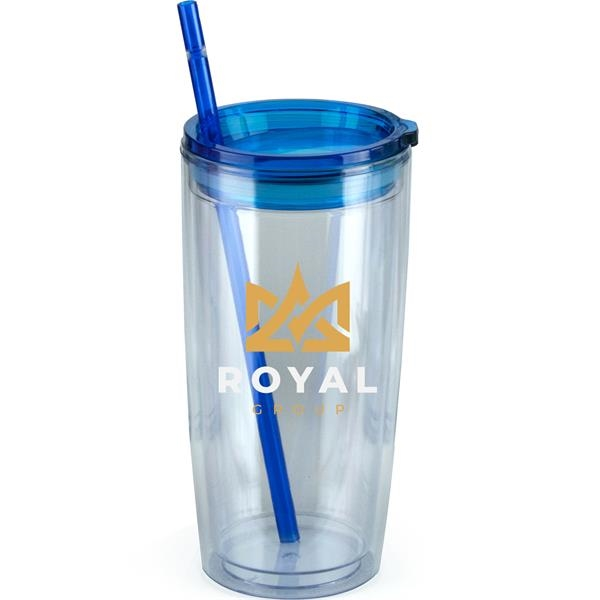 20oz. Double Wall Plastic Tumbler with Straw