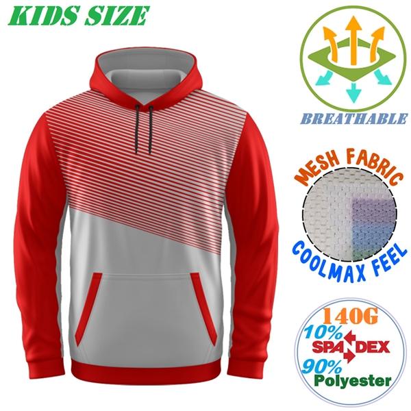 140G Mesh Coolmax Kids Pullover Hoodies w/ 2 Pockets, Soft