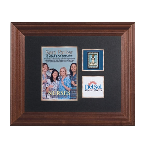 Limited Edition Collectible Plaque Award With Photo Or Illustration And Mint Stamp Photo