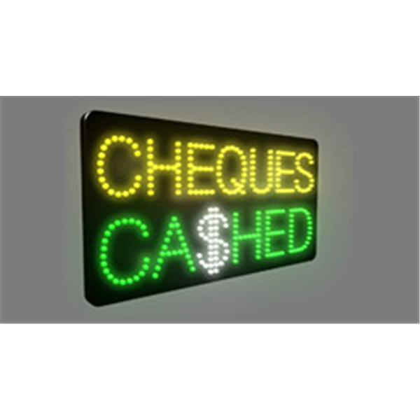 Electric Sign - Custom fabricated LED and neon sign, Cheques Cashed design.