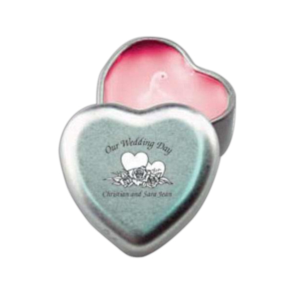 Candle In Heart Shape Tin. 5-day Quickship  Photo