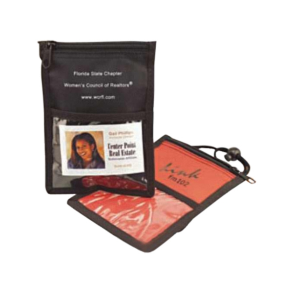 "Neck Wallet - Trade Show Assistant Neck Wallet With Clear Id Window, W 5 1/4"" X 7 1/4"" Photo"