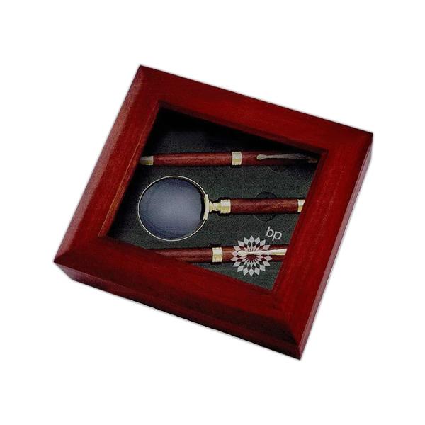Deluxe Desk Stationery Wooden Box Set-Pen, Pencil, Magnifier