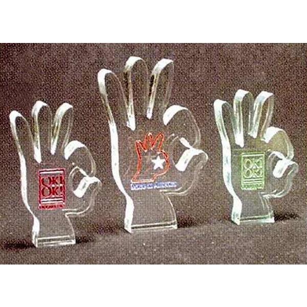 OK Sign Shape Acrylic Award