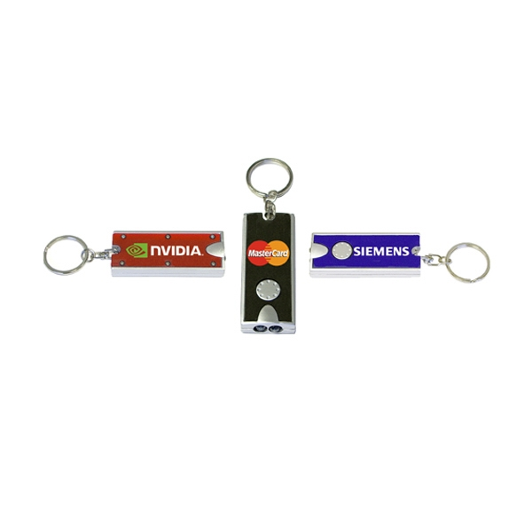 Dual LED rectangular flashlight key chain