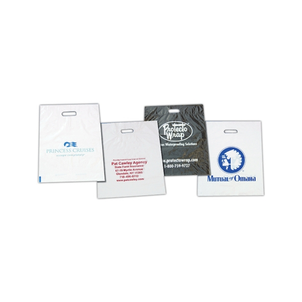 Imported Plastic Bag With Fold-over Reinforced Die Cut Handles, 1.75 Gauge Photo