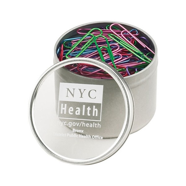 Assorted Colors, 200 Metallic Paper Clips In Large Metal Tin With Clear Window Lid Photo