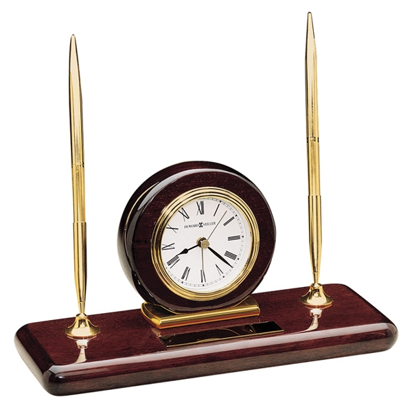 Rosewood Desk Set - Desk Set With Alarm Clock And Pen Set Photo