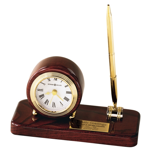 Roland - High Gloss Rosewood Finished Clock And Solid Brass Pen Photo