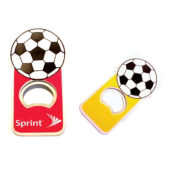 Jumbo size soccer shape magnetic bottle opener