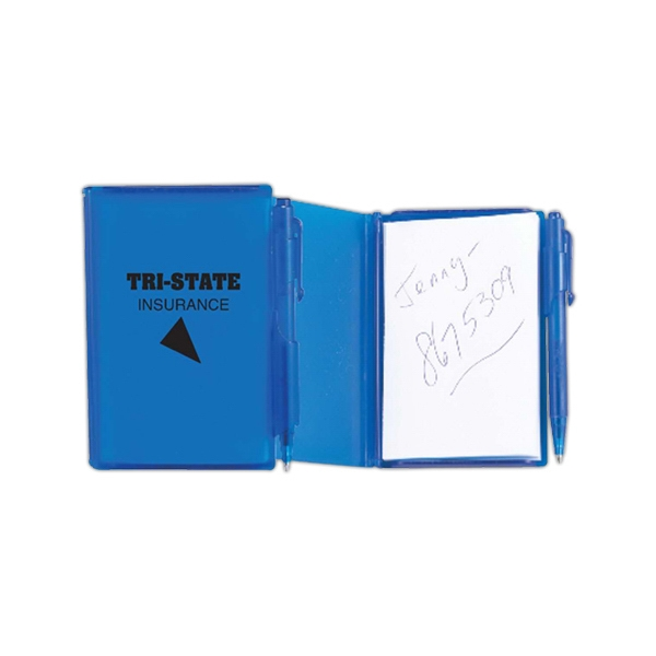 Translucent Colored Jotter Pad, With Lockable Hard Plastic Cover And Retractable Pen Photo