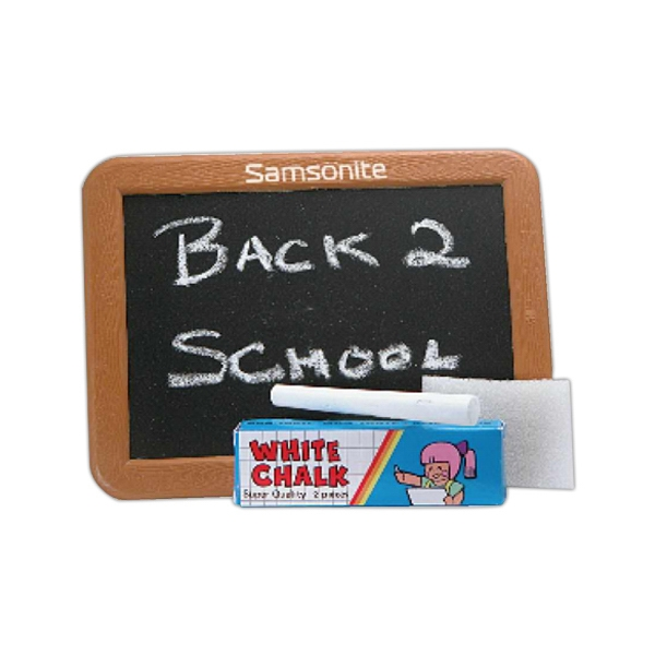 Plastic Blackboard With 2 Pieces Of Chalk And Foam Eraser In Polybag Photo