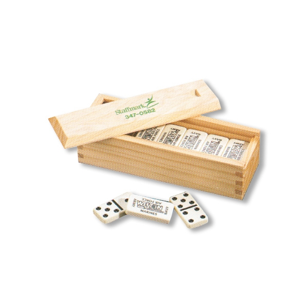 Dominoes In Custom Printed Wood Box, Full Color Print Photo