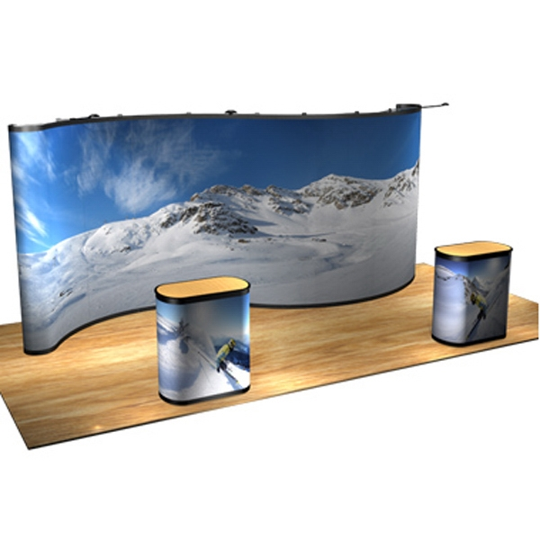DuraPrint Serpentine all graphic kit (20 ft) - Serpentine display with frame, hinged channel bars and lights, 20'.