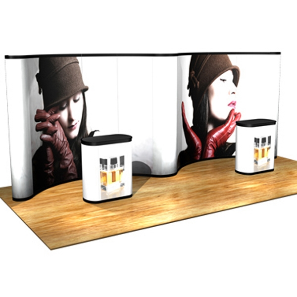 DuraPrint Gullwing all graphic kit (20 ft) - Pop up display with gullwing frame, hinged channel bars, 11 graphic panels, 20'.