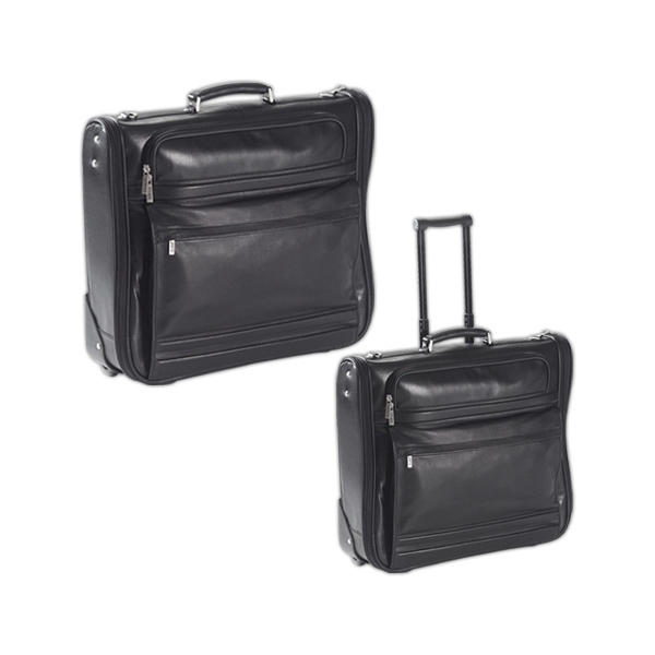 Leather Rolling Garment Bag With Detachable Shoulder Strap With Pad Photo